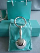 Sterling Silver New Large Baby Rattle Barbell Ring Pouch,box,card