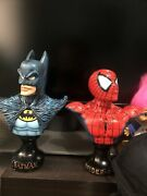 Spiderman And Batman Bust 6inch Rare Adult Owned