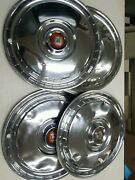 1955-56 Ford Fairlane Thunderbird Hubcaps Wheel Covers Vintage Set Of 4