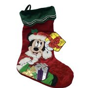 """Disney Parks Mickey Mouse Santa Christmas Stocking Large 22"""" Red"""