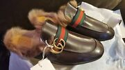 Menand039s Fur Princetown Slipper Slide Leather 100 Authentic Size 8