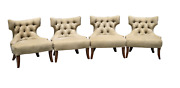 Set Of 4 Custom Upholstered Tufted Back Club Chairs Accent Chairs Transitional