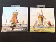 2 Vintage Dutch Westraven Hand Painted Polychrome Delftware Tile Ship And Windmill