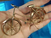 Antique Solid 10k Rose Gold Moveable Tires Bicycle 24.0 Gr Hand Made 1 Of A Kind