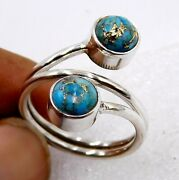 4.6 Gm 925 Solid Sterling Silver Blue Copper Turquoise Cab Stone Fine Ring M1803