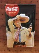 Coca Cola Cowboy Coca-cola Embossed Tinplate Signboard Made In Germany