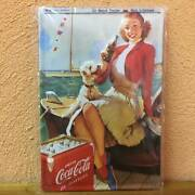 Coca Cola Dogs And Women Made In Germany Embossed Signboard Tinplate