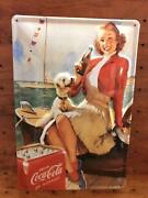 Coca Cola Woman Dog Coca-cola Embossed Tinplate Signboard Made In Germany