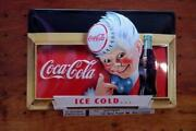 Coca Cola Coca-cola Ice Cold Embossed Tinplate Signboard Made In Germany