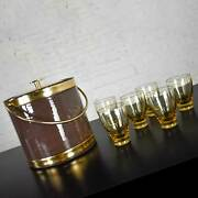 Vintage Mcm Brown Vinyl And Gold Kraftware Ice Bucket And 6 Bar Glasses Style Of R