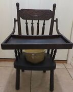 Antique Childand039s Potty Chair W/flipup Tray - Rare