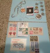 Junk Drawer Lot / Coins / Silver / Stamps / Jewelry