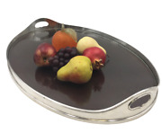Shreve And Co. Sterling Silver Mahogany And Glass Gallery Tray In Art Deco Style