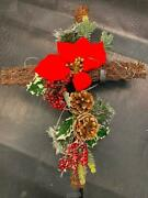 Stoneberry-light Up Cross Christmas Yard Decor With Berries And Pinecones