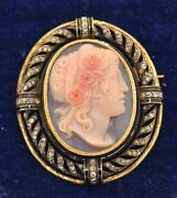 Victorian French Import 18k Hard Stone Cameo Rose Cut Diamond And Enamel Brooch