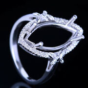 17x8mm Marquise Semi Mount Natural Diamonds Engagement Ring Sterling Silver 925