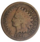 1871 Circulated Indian Head Cent Good Nice Coin Hard Date To Find
