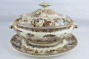 Wedgwood Covered Vegetable Serving Bowl Oval Dish Lid Plate Tan Floral Cow Town