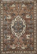 Antique Traditional Oriental Geometric Area Rug Evenly Low Pile Hand-knotted 5x7