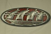 Vintage Plymouth 1938 P6 Deluxe 4-door Touring Sedan Trunk Emblem W/ Backplate
