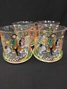 German Glass Enamel Painted Colonial Drinking Glasses Set Of 4