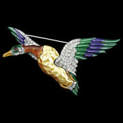 Trifari 'alfred Philippe' Pearl Belly Pave And Enamel Flying Mallard Duck Bird Pin