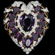 Trifari And039alfred Philippeand039 Gold Pave Amethyst And Black Enamel Heart Pin Clip