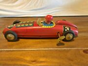 Vintage Russ Berrie Decorative Wind-up Red Race Car Tin Toy Collectible