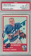1963 Fleer Football 72 Lance Alworth Rc Rookie Signed Autograph Psa Dna 4