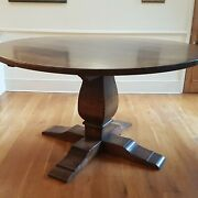 Solid Oak Round Tableandnbspbespoke And Rustic. Decor/standing Events. Fits 10 People