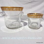 Bucket Champagne And Ice Crystal Saint Louis Thistle Gold In Perfect Condition