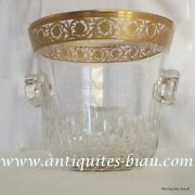 Champagne Bucket Crystal Saint Louis Thistle Gold In Perfect Condition