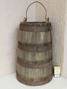 20 Heavy 26lbs Antique Strong Wooden Farm Pail Water Bucket 4 Wrought Iron Band