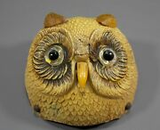 Antique Novelty Edwardian Child's Nursery Table Bell Figural Owl Celluloid