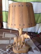 Vintage Andre Dube Moose Lamp - Hand Carved Iconic Classic Whittling - Damaged