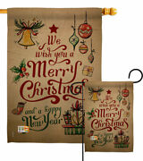 Merry Christmas And Happy New Year Garden Flag Winter Decorative House Banner