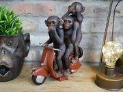 Three Wise Monekys On A Scooter Ornament