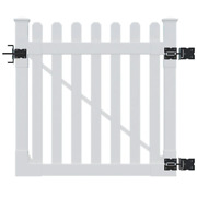 4 Ft. X 4 Ft. Premium Vinyl Classic Picket Fence Gate With Powder Coated Stainle