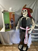 Rare Gemmy 5and039 Foot Halloween Animated Dancing Pirate Skeleton Sings Lights Moves
