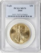 2000 50 Gold Eagle Pcgs Ms70 Low Pop Only 51 Coins