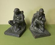 Antique Kbw Bronze Bookends Wwi Soldier Military Army Kathodian Clad Doughboy