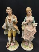 Vtg Set Of Lefton China Victorian Figurines Hand Painted Man And Woman L 3146