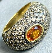Orange Sapphire Fancy-color Diamond 14k Yellow Black Gold Domed Band Ring Size 7