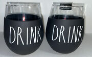 Rae Dunn Drink Wine Glass Set Of 2 With Black Rubber