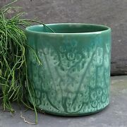 Vintage Signed Poole Pottery Planter Plant Pot Teal Sea Green Abstract Flower