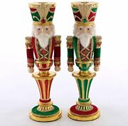 Gerson Katherine's Collection 28-928477 Wishes Nutcracker Candle Holder Set...