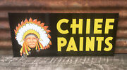 """Vintage 2 Sided Chief Paints Advertising Metal Sign Hardware Store 28x12"""""""