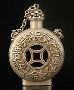 China Old Collectible Handmade Carving Hollow Out Tibetan Silver Snuff Bottles