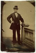 Antique Old 19th Century 1/6 Plate Tintype Photograph Dapper Young Man Suit Hat