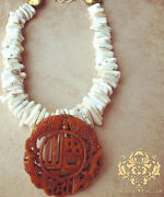 Statement Necklaces White Howlite Turquoise Brown Carved Chinese Jade Pendant